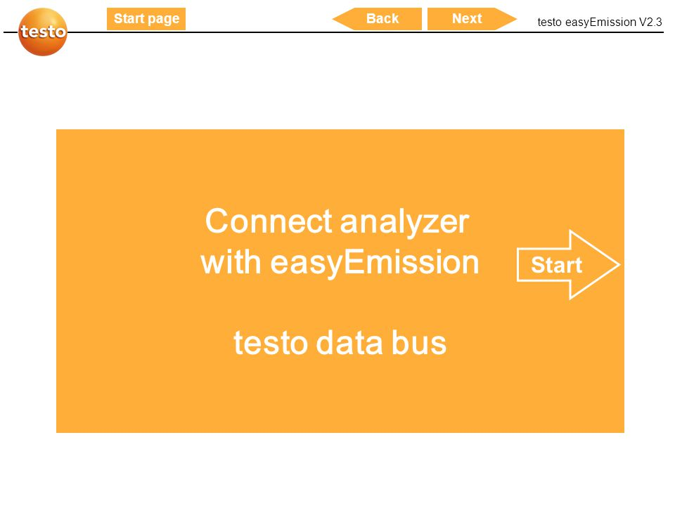 Connect analyzer with easyEmission testo data bus