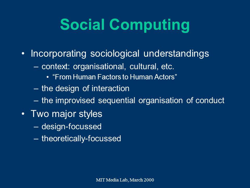 Social Computing Incorporating sociological understandings