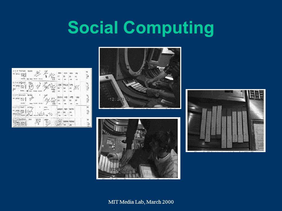 Social Computing MIT Media Lab, March 2000