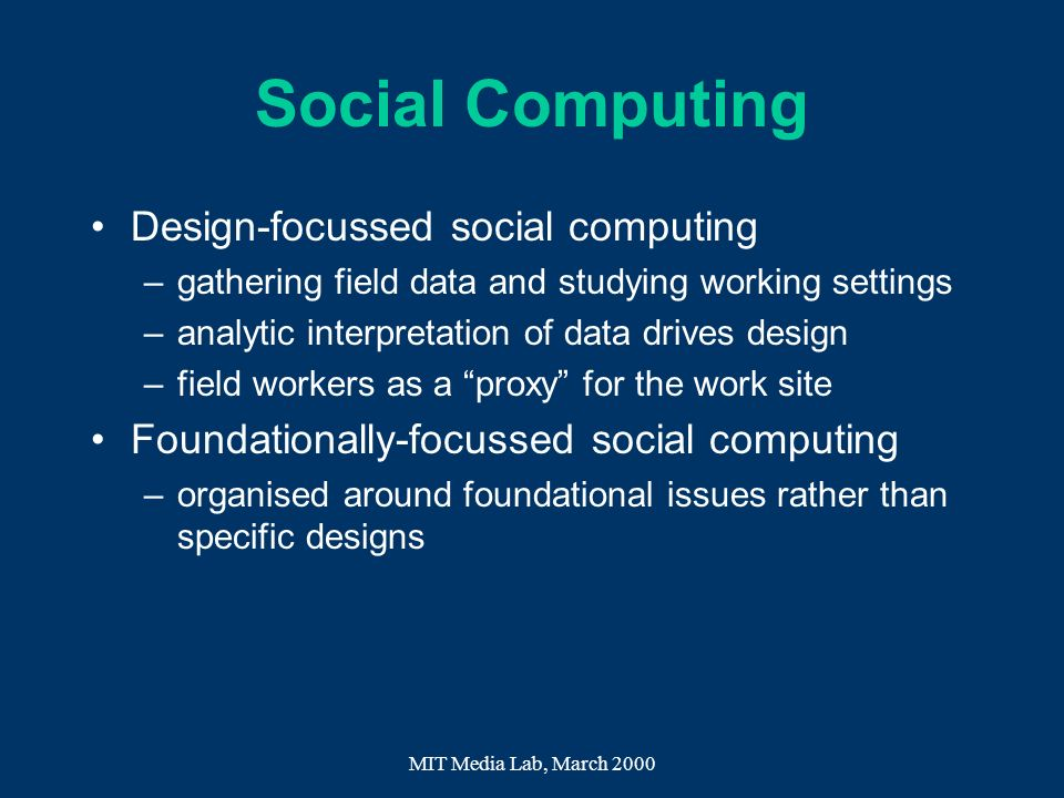Social Computing Design-focussed social computing