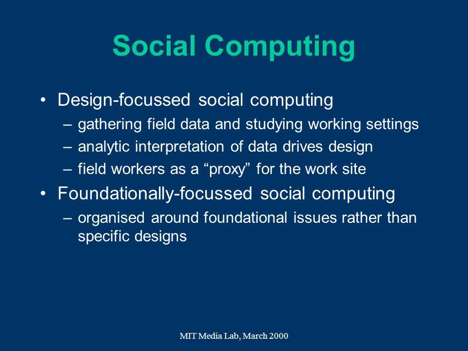 Social Computing Design-focussed social computing