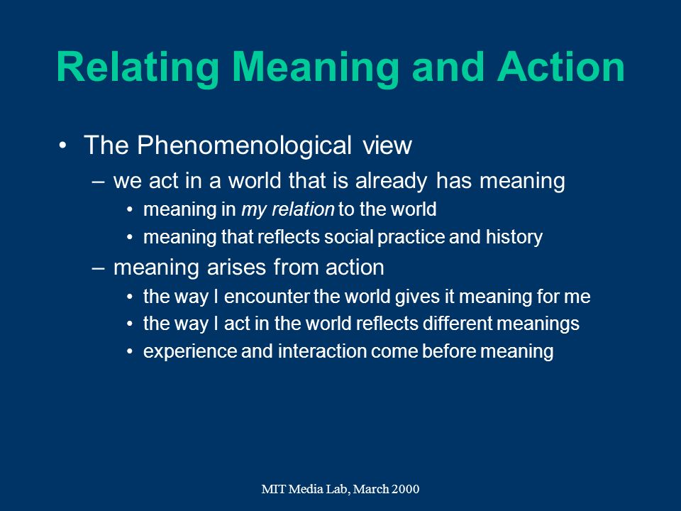 Relating Meaning and Action