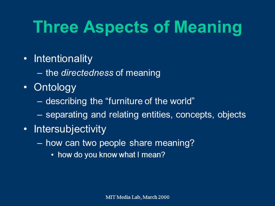 Three Aspects of Meaning