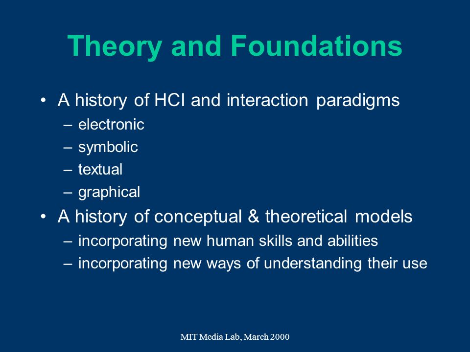 Theory and Foundations