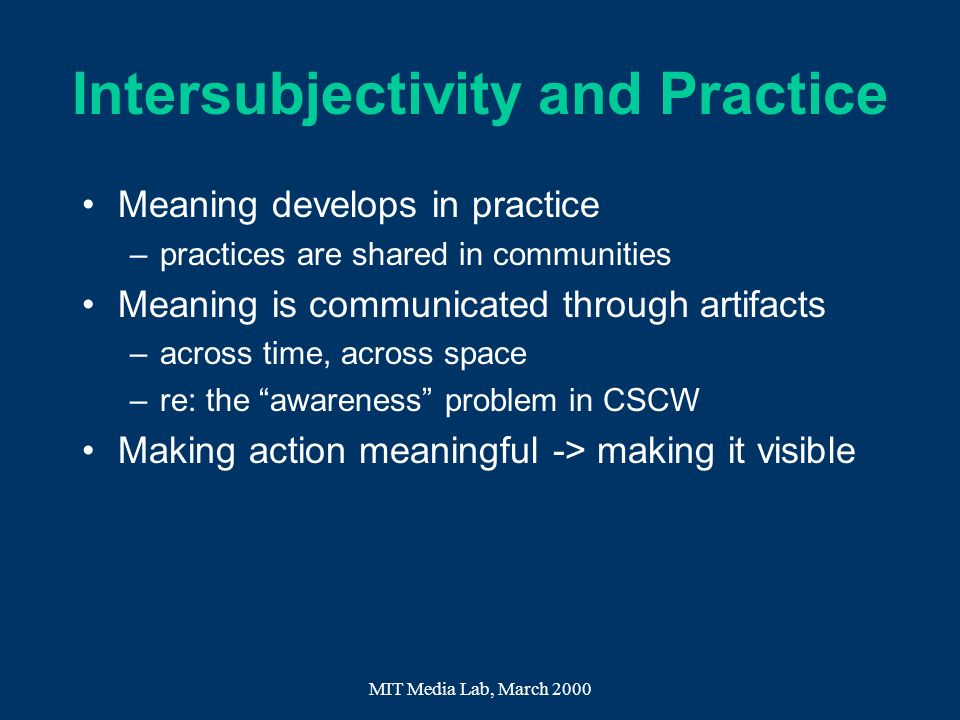 Intersubjectivity and Practice