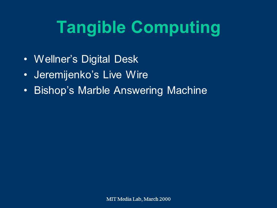 Tangible Computing Wellner's Digital Desk Jeremijenko's Live Wire