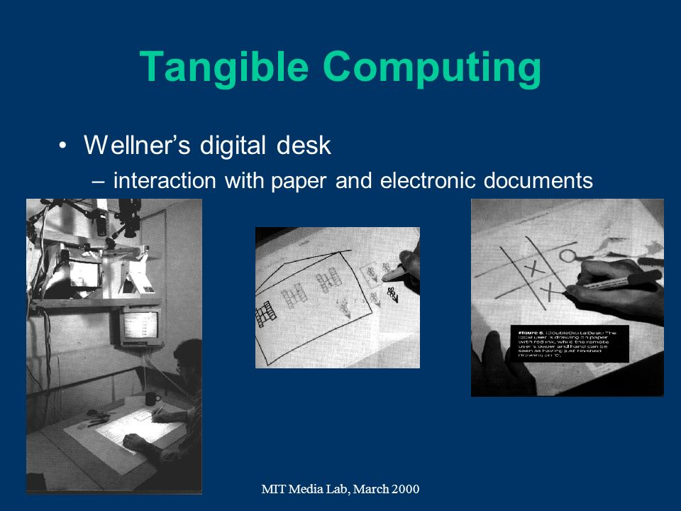 Tangible Computing Wellner's digital desk