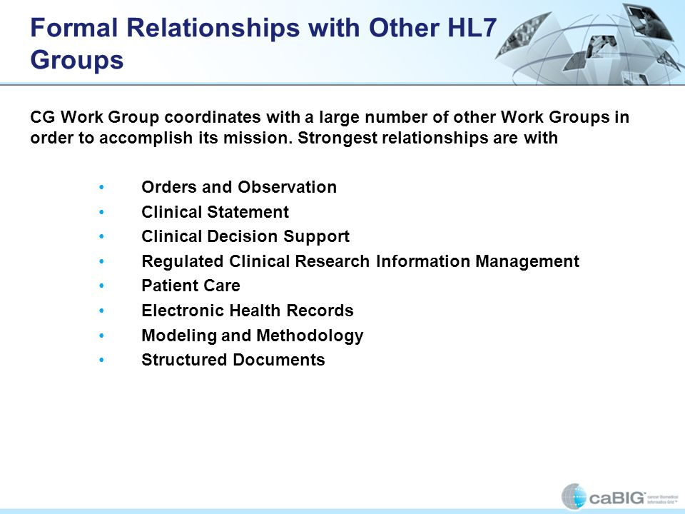 Formal Relationships with Other HL7 Groups
