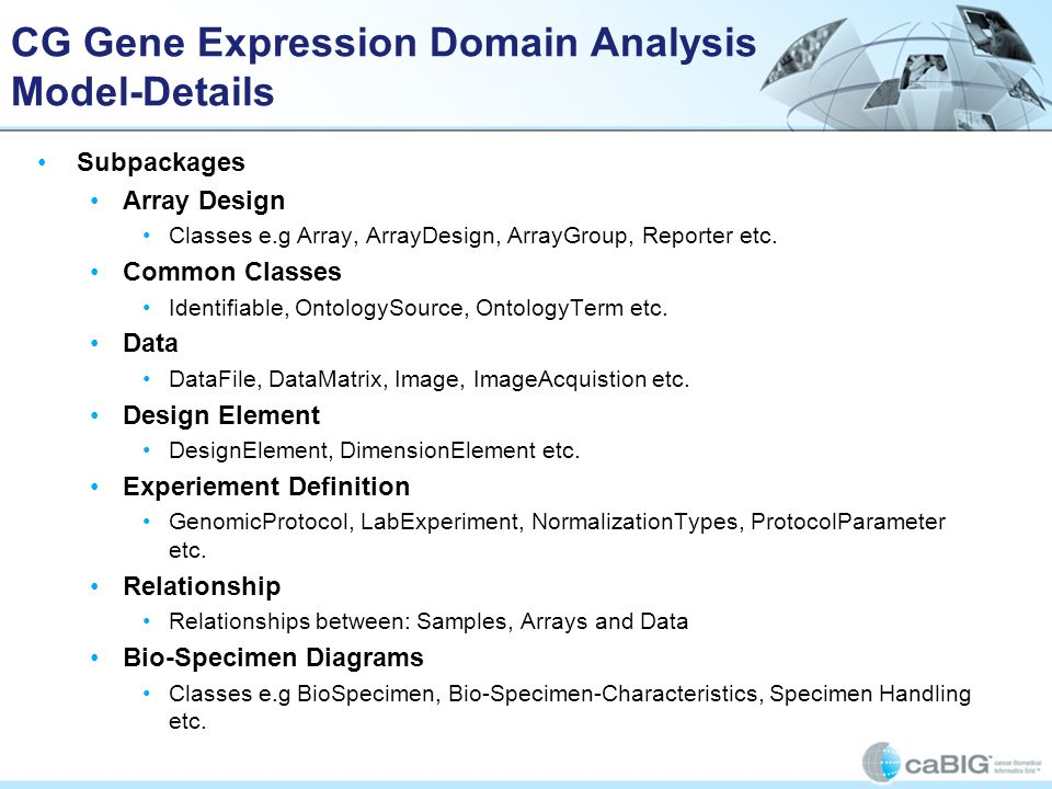 CG Gene Expression Domain Analysis Model-Details