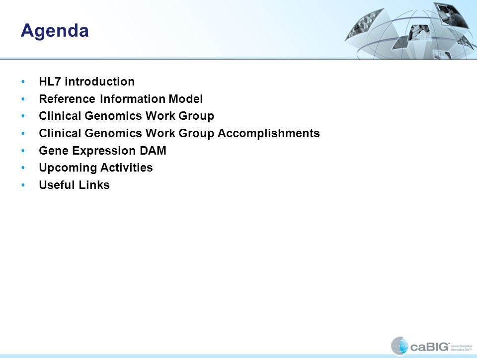 Agenda HL7 introduction Reference Information Model