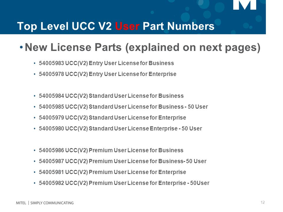 Top Level UCC V2 User Part Numbers