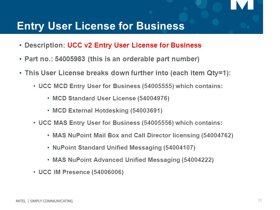 Entry User License for Business