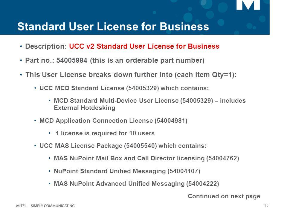 Standard User License for Business