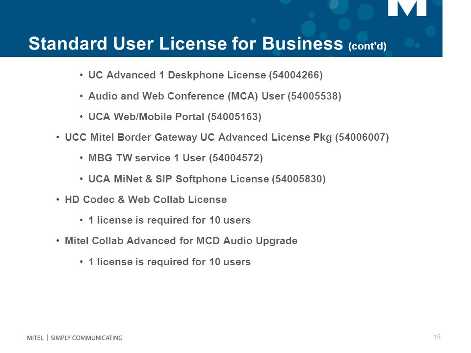 Standard User License for Business (cont'd)