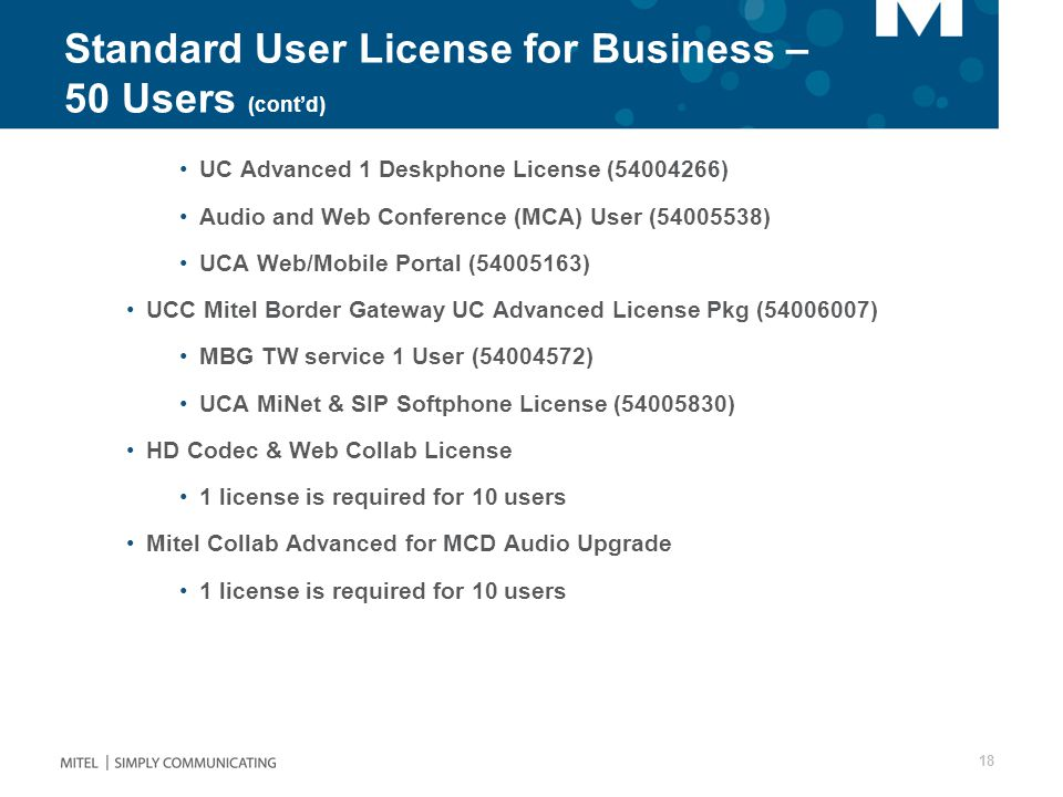 Standard User License for Business – 50 Users (cont'd)