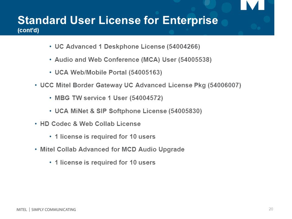 Standard User License for Enterprise (cont'd)