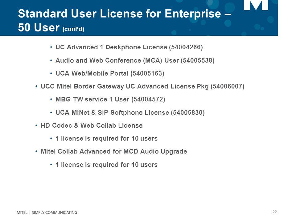 Standard User License for Enterprise – 50 User (cont'd)