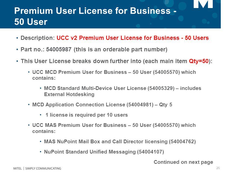 Premium User License for Business - 50 User