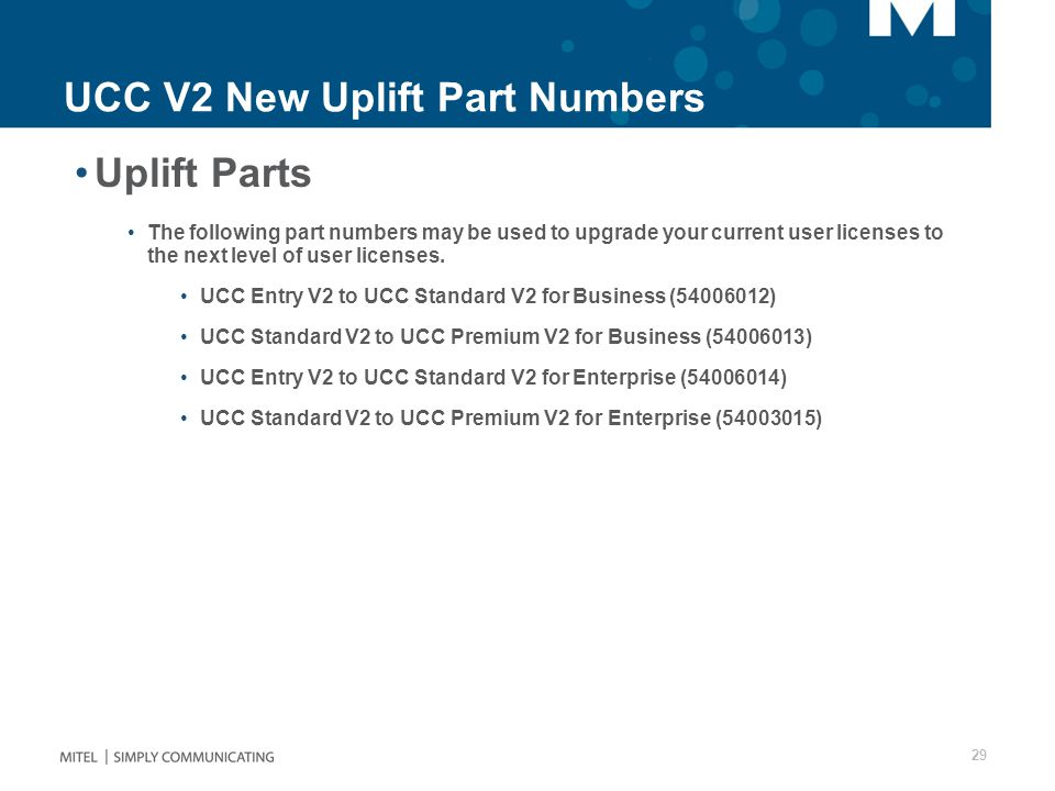 UCC V2 New Uplift Part Numbers