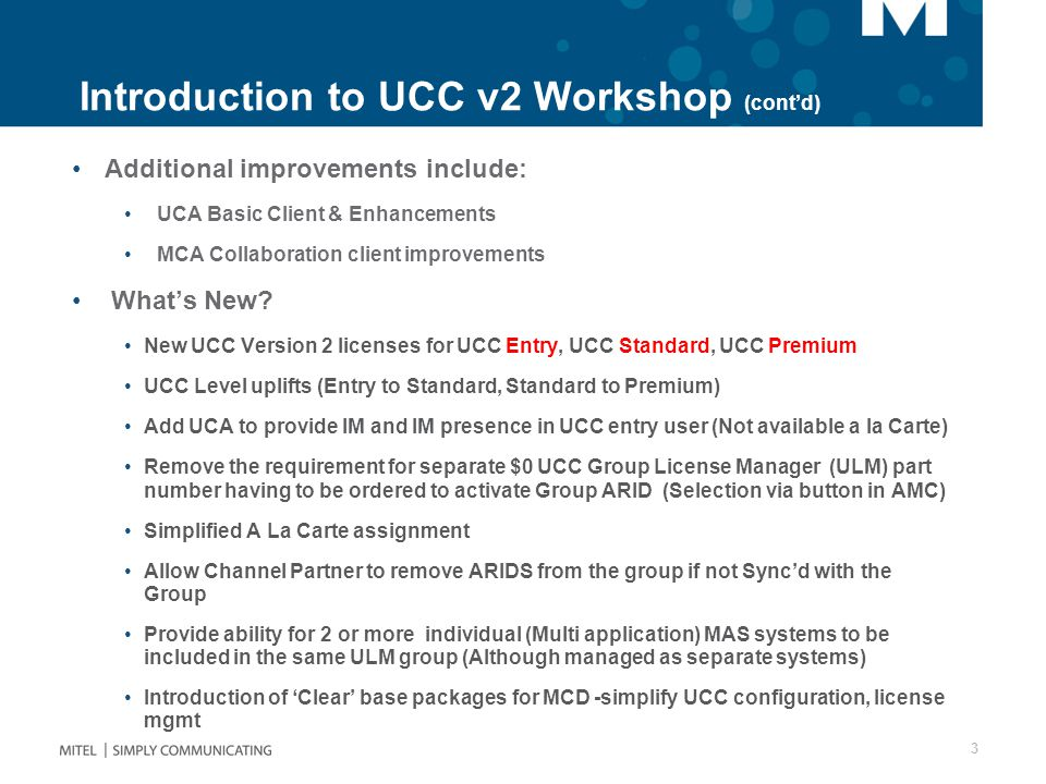 Introduction to UCC v2 Workshop (cont'd)