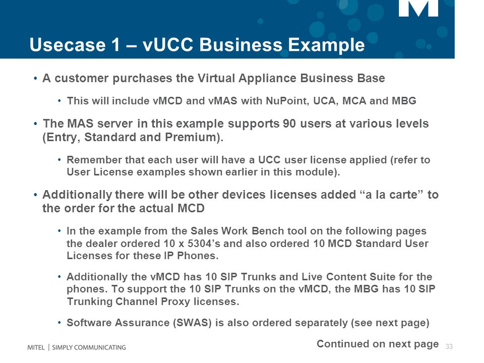 Usecase 1 – vUCC Business Example