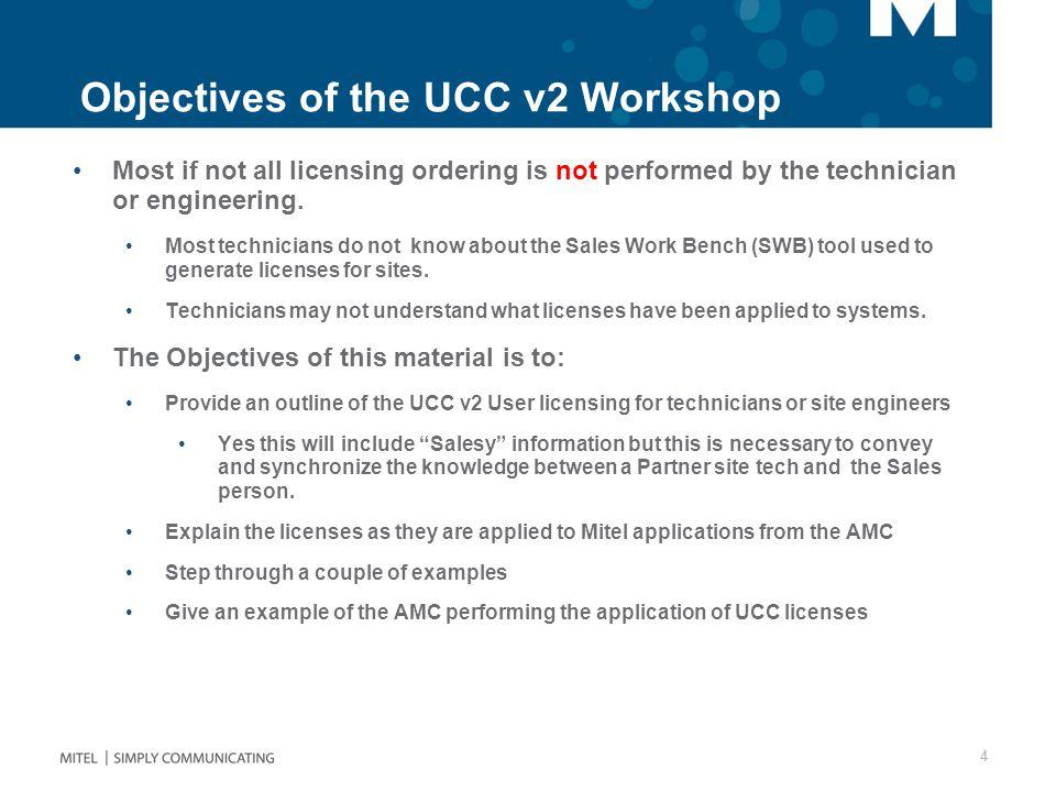 Objectives of the UCC v2 Workshop