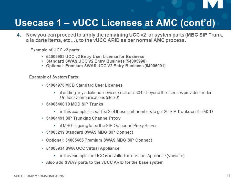 Usecase 1 – vUCC Licenses at AMC (cont'd)