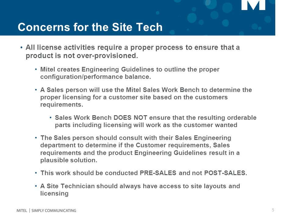 Concerns for the Site Tech