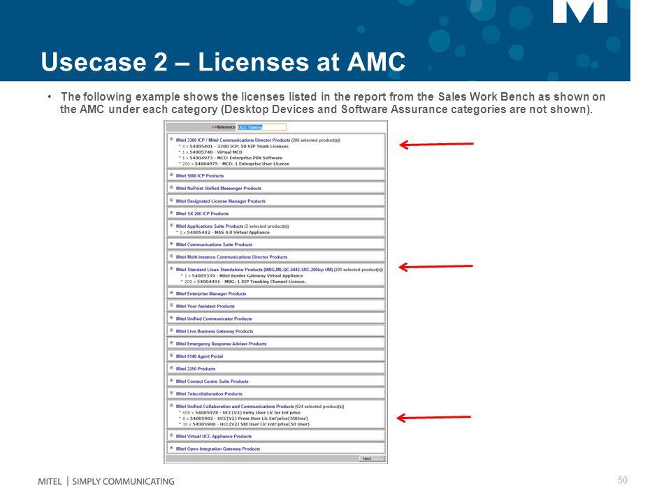 Usecase 2 – Licenses at AMC