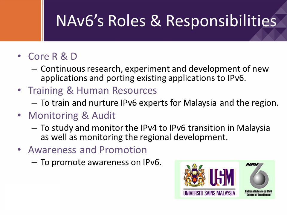 NAv6's Roles & Responsibilities