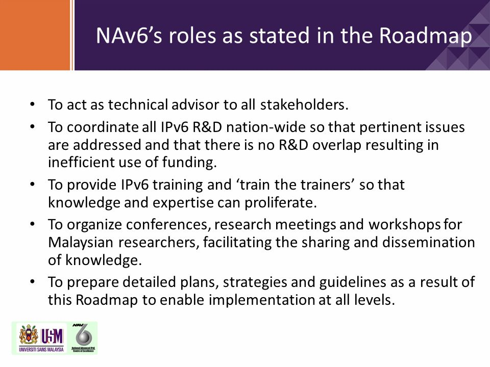 NAv6's roles as stated in the Roadmap