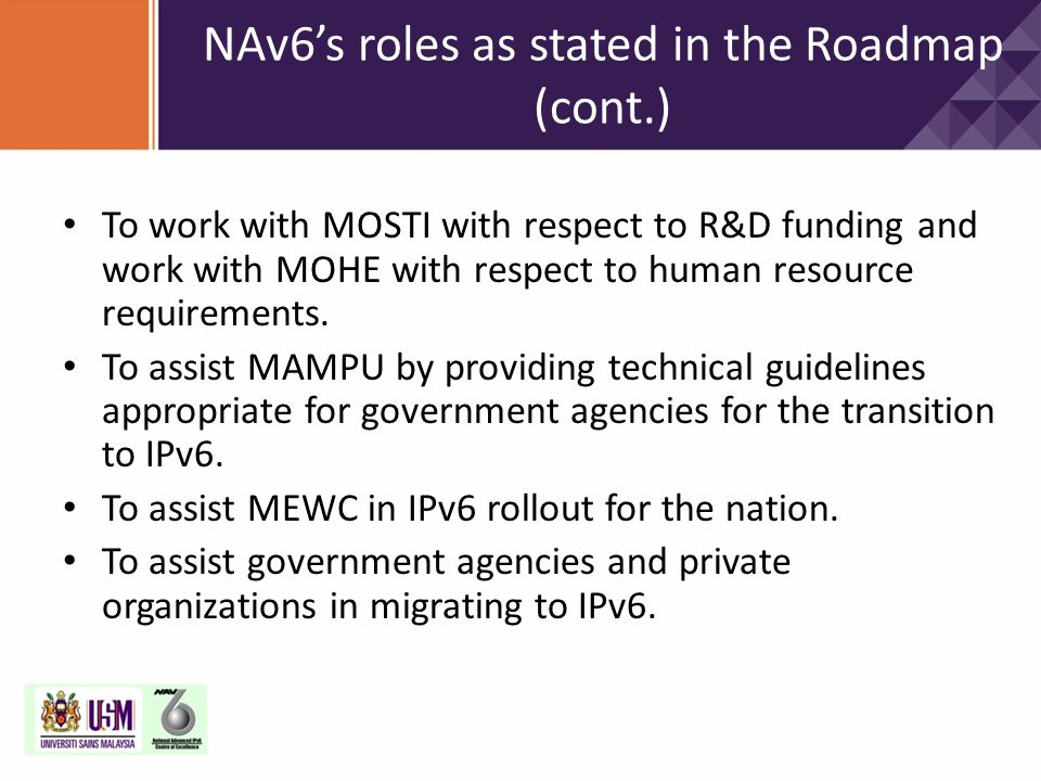 NAv6's roles as stated in the Roadmap (cont.)