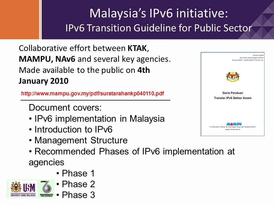 Malaysia's IPv6 initiative: IPv6 Transition Guideline for Public Sector
