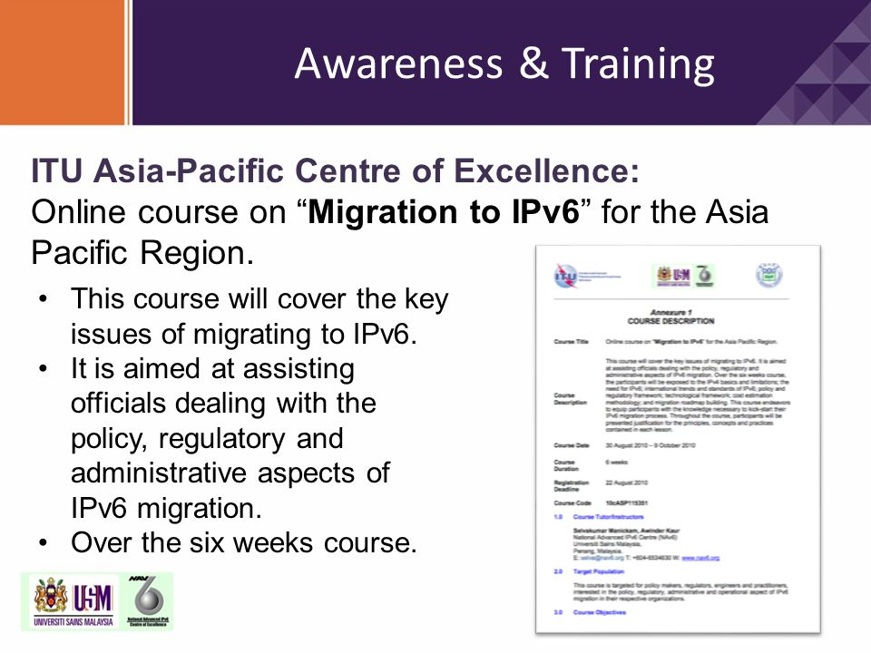 Awareness & Training ITU Asia-Pacific Centre of Excellence: