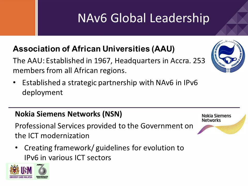 NAv6 Global Leadership Association of African Universities (AAU)