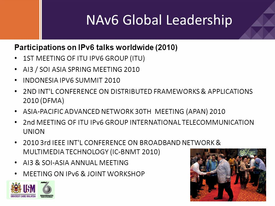 NAv6 Global Leadership Participations on IPv6 talks worldwide (2010)