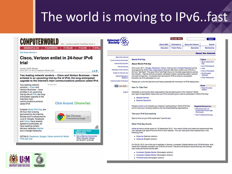 The world is moving to IPv6..fast