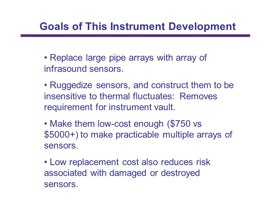 Goals of This Instrument Development