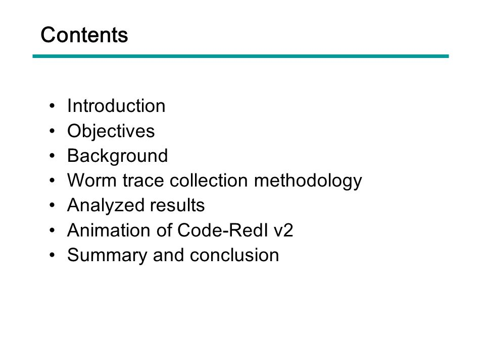 Contents Introduction Objectives Background