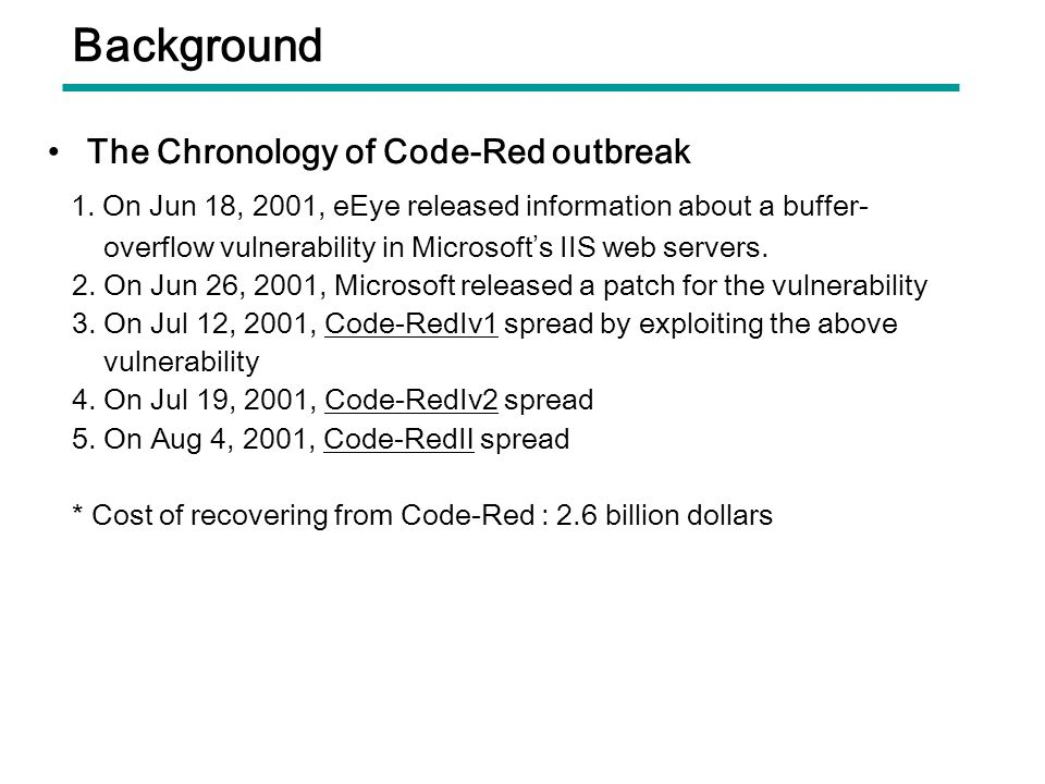 Background The Chronology of Code-Red outbreak. 1. On Jun 18, 2001, eEye released information about a buffer-