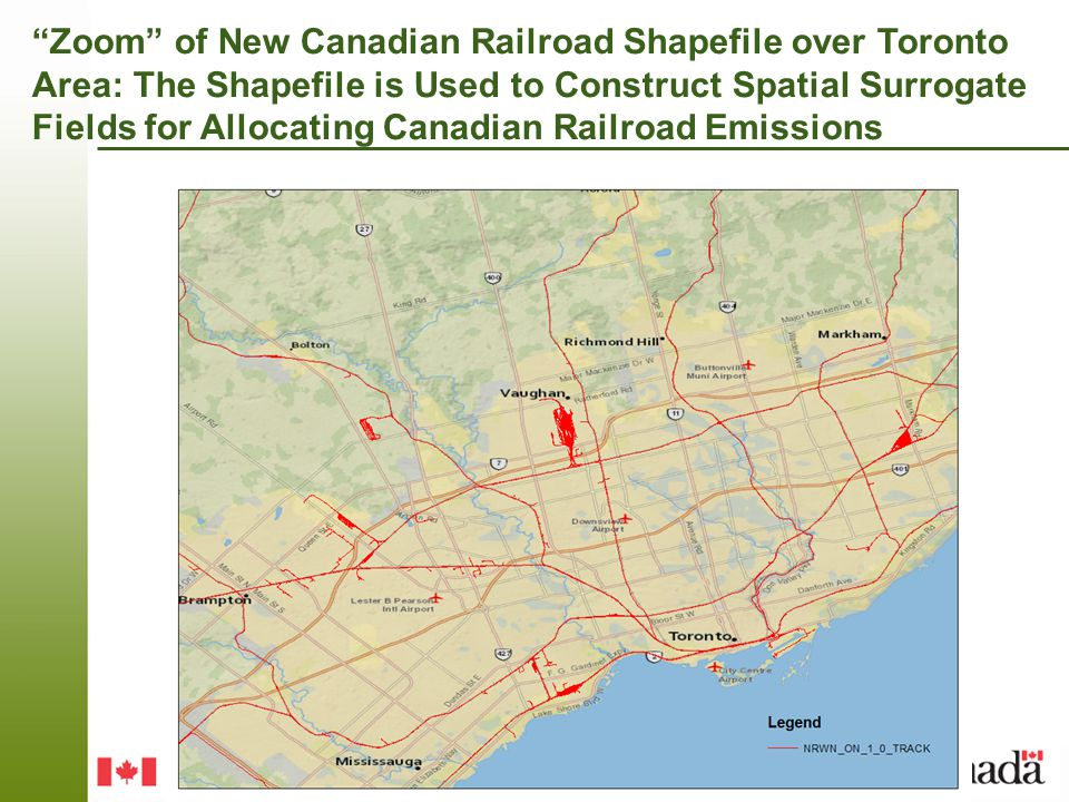 Zoom of New Canadian Railroad Shapefile over Toronto Area: The Shapefile is Used to Construct Spatial Surrogate Fields for Allocating Canadian Railroad Emissions