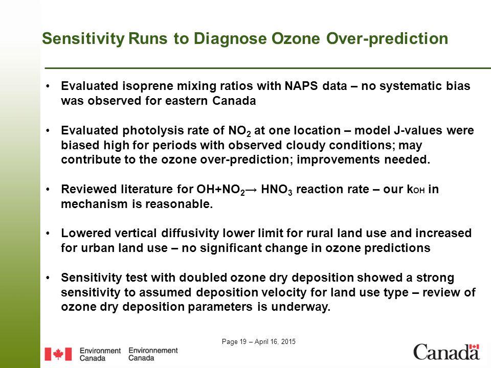 Sensitivity Runs to Diagnose Ozone Over-prediction