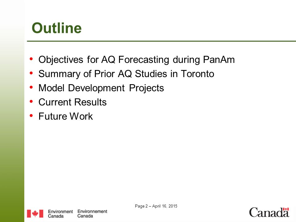 Outline Objectives for AQ Forecasting during PanAm