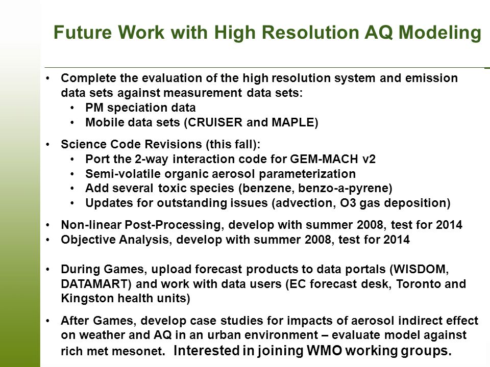 Future Work with High Resolution AQ Modeling