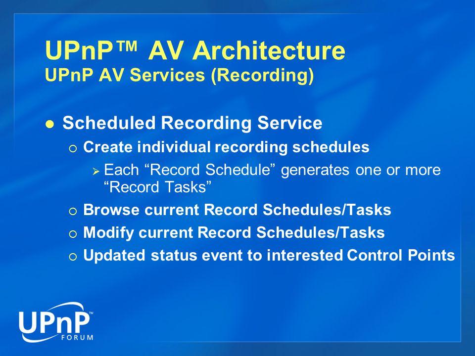 UPnP™ AV Architecture UPnP AV Services (Recording)