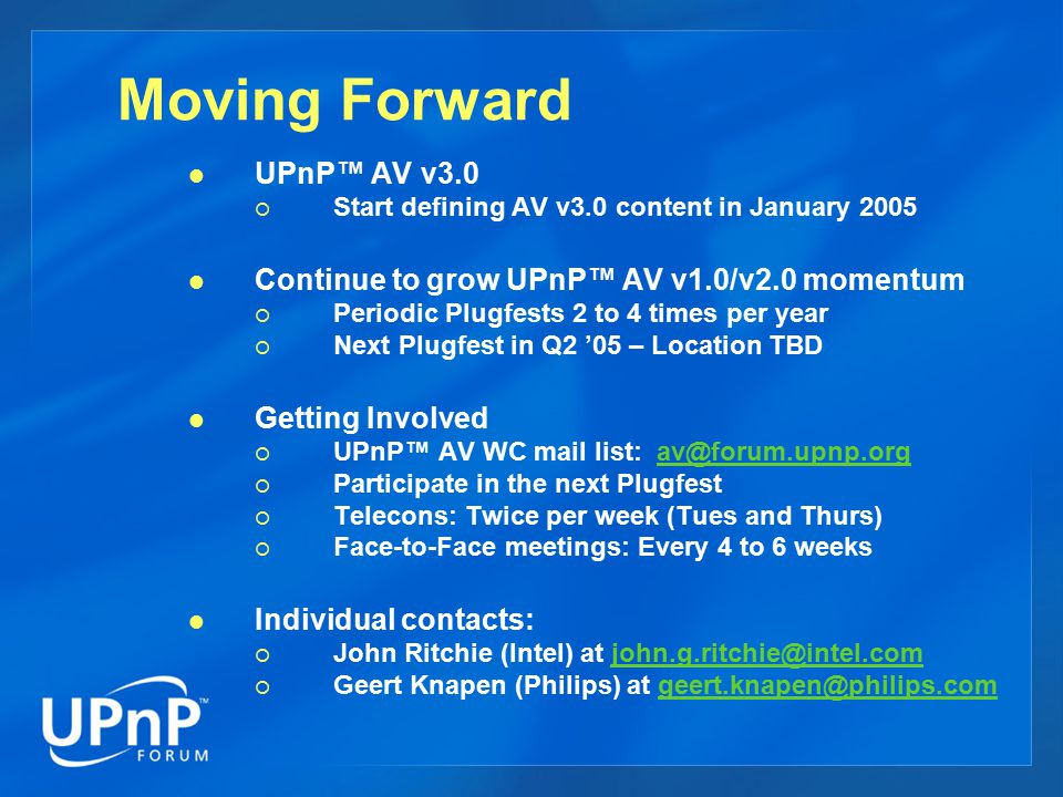 Moving Forward UPnP™ AV v3.0