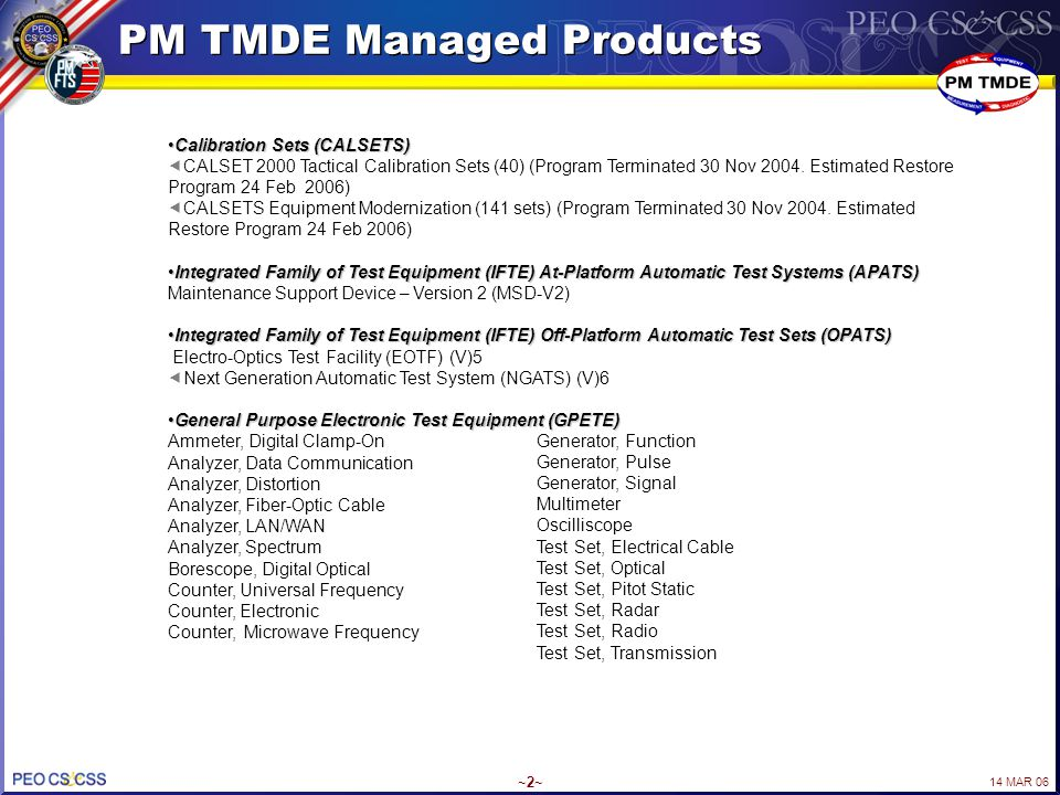 PM TMDE Managed Products