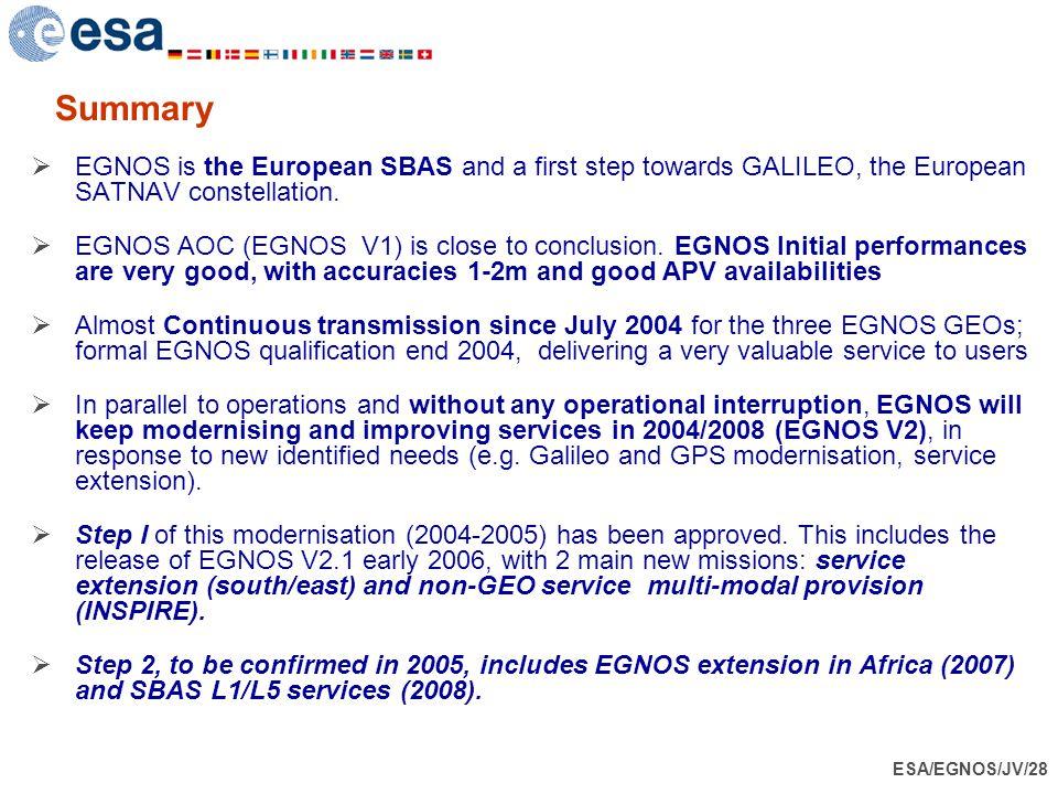 Summary EGNOS is the European SBAS and a first step towards GALILEO, the European SATNAV constellation.