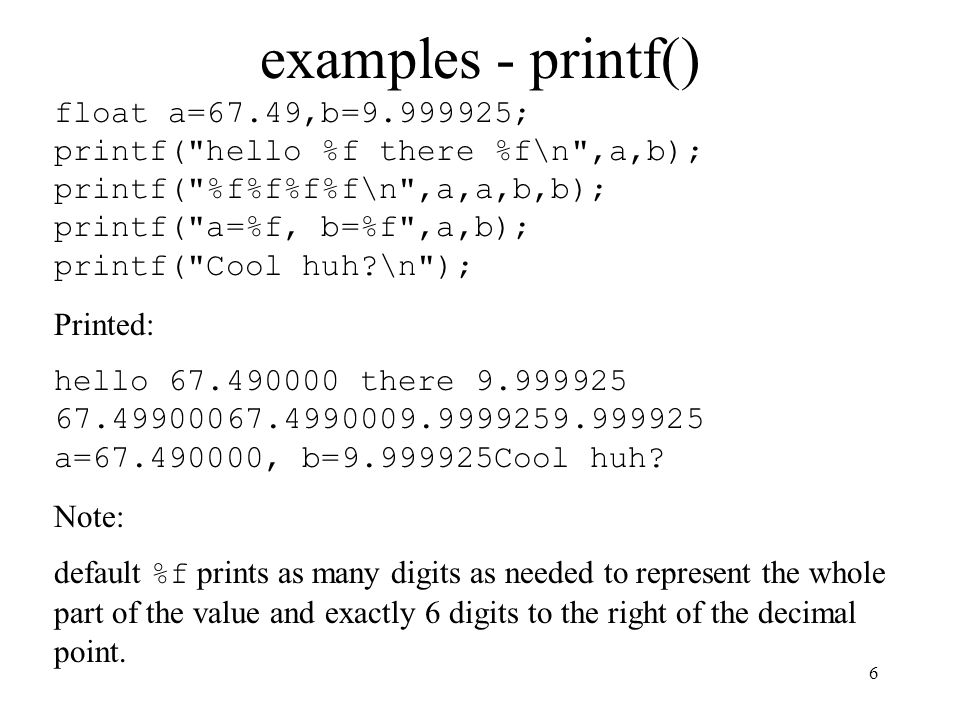 examples - printf()