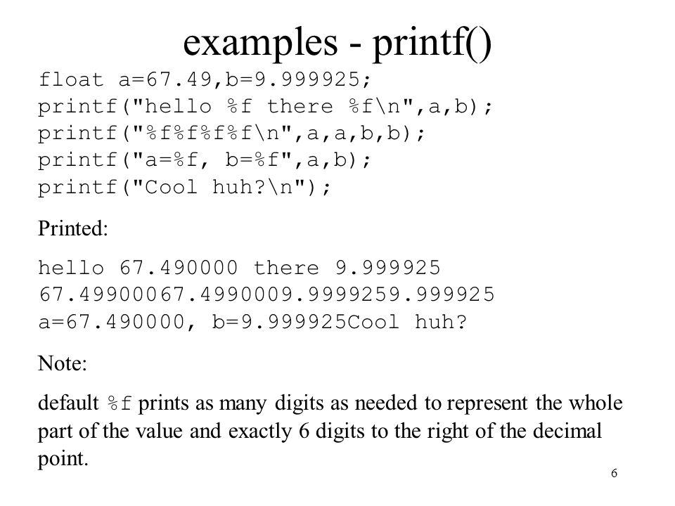 examples - printf()